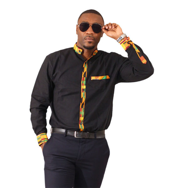 Black Kente Trim Dress Shirt, Long Sleeve